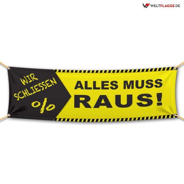 Alles muss raus! – Werbebanner – PVC Planen Werbeplane / gelb-schwarz