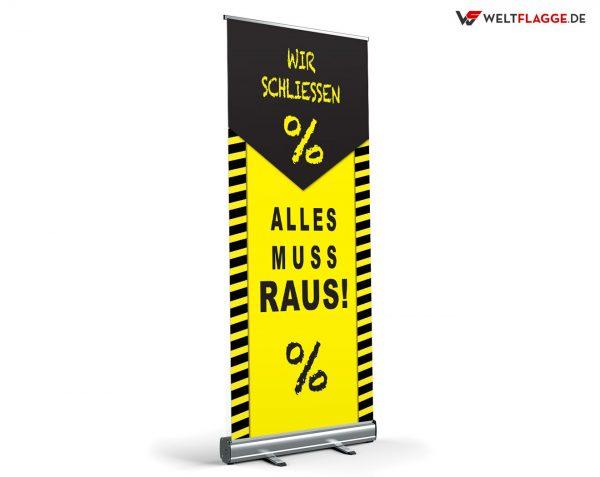 Alles muss raus! Roll-Up Banner - Werbebanner / gelb-schwarz