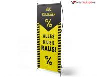 Alles muss raus! - X-Banner - PVC Planen Werbeplane / gelb-schwarz