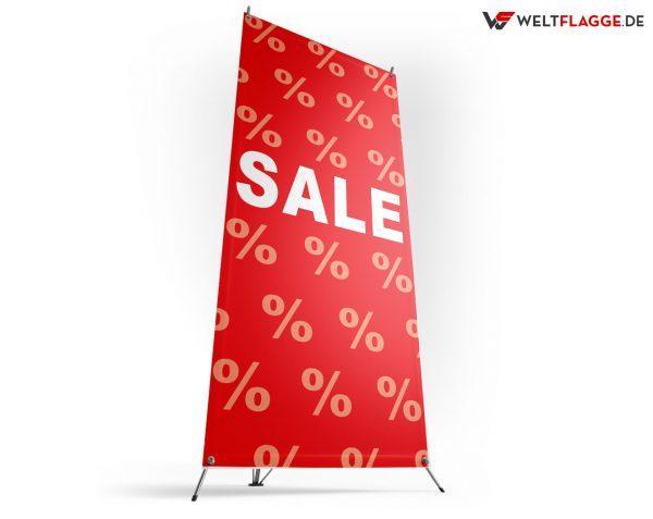 SALE - X-Banner - PVC Planen Werbeplane / rot-weiß